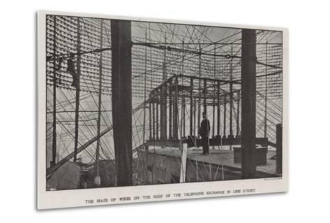 The Maze of Wires on the Roof of the Telephone Exchange in Lime Street--Metal Print