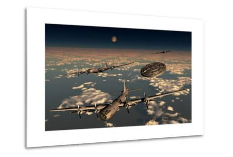 A Ufo Buzzing a Group of B-29 Superfortress Aircraft--Metal Print