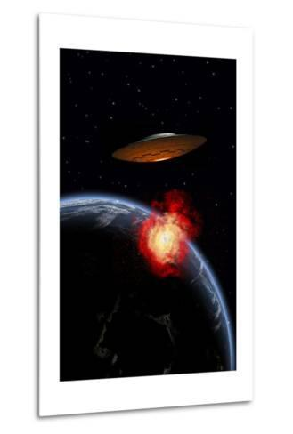 An Orbiting Ufo Launches a Deadly Attack Upon the Surface of Earth--Metal Print
