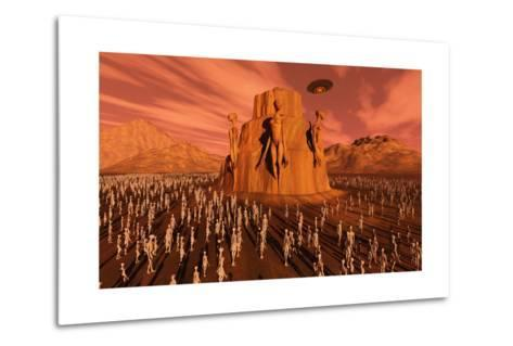 Martians Gathering around a Monument Dedicated to their Ancestors--Metal Print