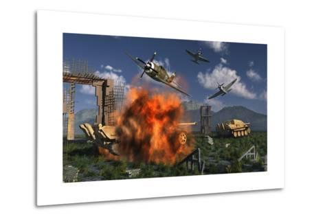 P-47 Thunderbolts Attacking German Jagdpanther Tanks During World War Ii--Metal Print