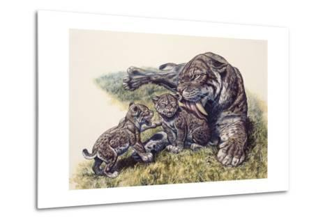 Smilodon Sabertooth Mother and Her Cubs--Metal Print