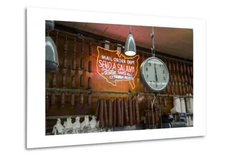 Katz's Deli Salamis with Scale (New York Landmark Eatery)-Henri Silberman-Metal Print