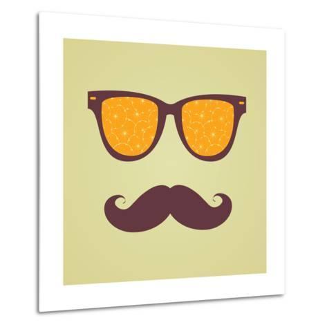 Vintage Hipster Background. Sunglasses Reflection Orange-AnnaKukhmar-Metal Print