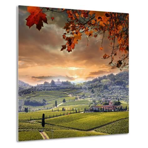 Chianti Vineyard Landscape in Tuscany, Italy-extravagantni-Metal Print