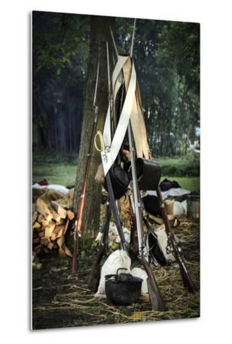 Historical Reenactment: Bundle of Muzzle-Loading Flintlock Rifles--Metal Print