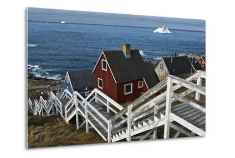 Group of Houses with Wooden Staircase--Metal Print