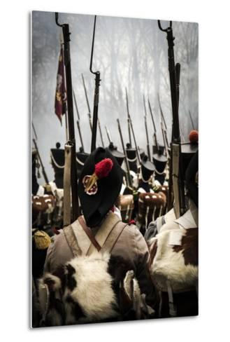 Historical Reenactment: Napoleon's Troops Marching Towards Austerlitz--Metal Print
