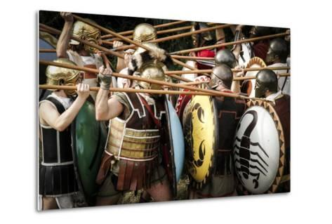 Historical Reenactment: Fighting Between Athenian Hoplites (Armed Infantry Soldiers) and Spartans--Metal Print