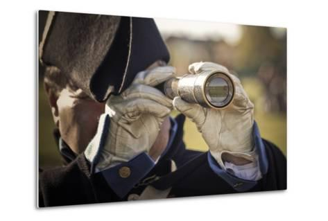 Historical Reenactment: Officer in Napoleon's Army Using Telescope to View Enemy Troop Positions--Metal Print