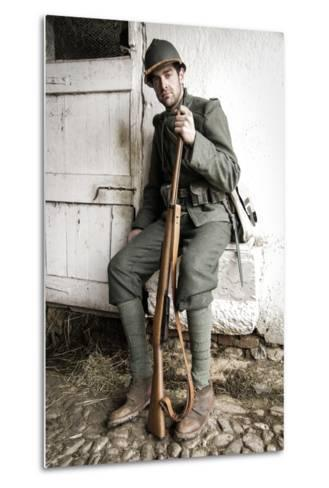 Historical Reenactment: Foot Soldier in Italian Army--Metal Print