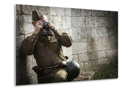 Historical Reenactment: Red Army Soldier Taking Photograph--Metal Print