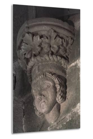 Relief in Form of a Male Head with a Crown of Grape Leaves--Metal Print