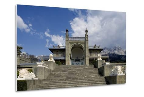 The White Marble Staircase and Lions from the Neo-Moorish Style Southern Facade of Vorontsov Palace--Metal Print