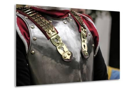 Historical Reenactment: Cuirassier of the Heavy Cavalry of the Napoleonic Army--Metal Print