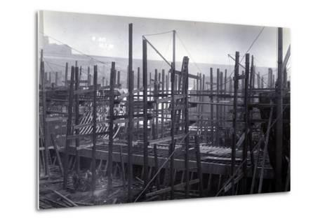 The Ice-Breaking Train Ferry Steamer 'Ss Baikal' in Frame During Construction by Sir W.G. Armstrong--Metal Print