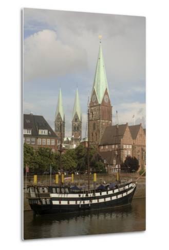 Sailing Ship Moored Along River Weser--Metal Print