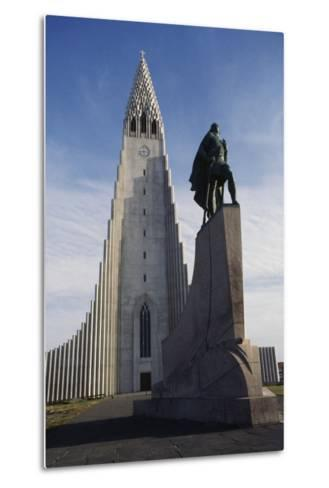 Lutheran Church of Hallgrimurin (Hallgrimskirkja) in Reykjavik--Metal Print