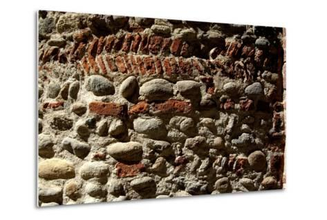 Wall in Stone and Brick Layered in Herringbone Pattern with Thick Layers of Mortar Surviving from R--Metal Print