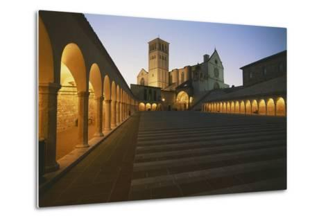 Steps Leading to a Church, Basilica of San Francisco, Assisi, Umbria, Italy--Metal Print