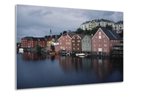 Wooden Buildings Along Nidelva River, Trondheim, Sor-Trondelag County, Norway--Metal Print