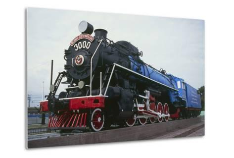 Old Steam Locomotive, Now Monument to Trans-Siberian Railway Line, in Square in Novosibirsk, Russia--Metal Print