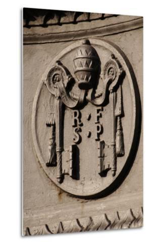 Emblem of Reverend Fabric of Saint Peter (Fabbrica Di San Pietro). St. Peter's Square. Vatican City--Metal Print
