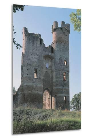 Low Angle View of a Ruined Castle, Bressieux Castle, Rhone-Alpes, France--Metal Print