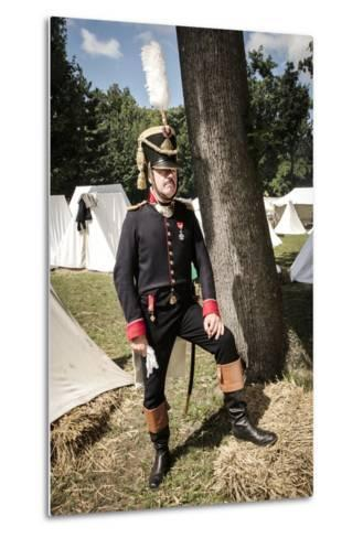 Historical Reenactment: Officer of Napoleon's Army in Military Camp, Napoleonic Wars, 19th Century--Metal Print