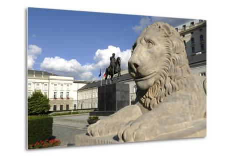 Poland. Warsaw. Presidential Palace and Statue of Prince Jozef Poniatowski (1763-1813)--Metal Print