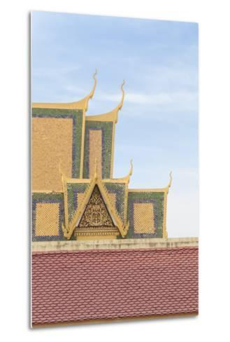 Roofs at the Royal Palace Complex, with the Silver Pagoda One at the Top, Phnom Penh, Cambodia--Metal Print