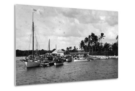 Sailboats Docked at the Royal Palm Hotel Boathouse at the Entrance to the Miami River, C.1900--Metal Print