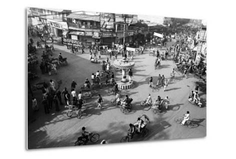 Chaos, Cycles and Rickshaws at City Road Intersection, Varanasi, Uttar Pradesh, India, 1982--Metal Print
