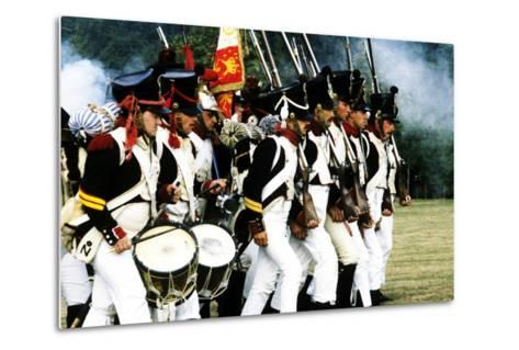 Historical Re-Enactment of French Napoleonic Troops in Battle 1815, as Deployed at Waterloo--Metal Print