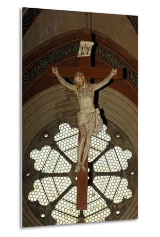 Crucifixion and Rose Window, Basilica of Sant'Andrea (1219-1227), Vercelli, Piedmont, Italy--Metal Print