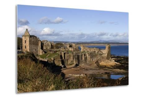 Ruins of St Andrews Castle (Founded in 1200), St Andrews Bay, Scotland, United Kingdom--Metal Print
