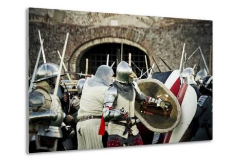 Historical Reenactment: Fighting Between Armour-Clad Soldiers with Shields, 14th Century--Metal Print