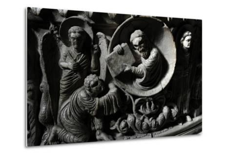 Moses Receives the Law. Baptismal Font. 12th Century. Basilica of San Frediano. Lucca--Metal Print