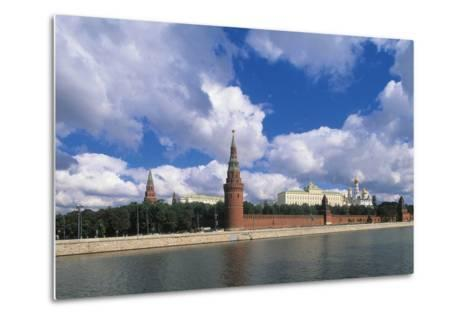View of Kremlin (Unesco World Heritage List, 1990) and Moskva River, Moscow, Russia--Metal Print