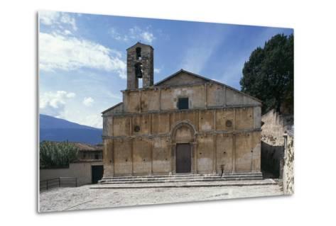 Facade of Church of Santa Giusta, 13th Century, Bazzano, Abruzzo, Italy--Metal Print