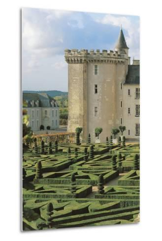 High Angle View of a Formal Garden in Front of a Castle, Villandry, Centre, France--Metal Print