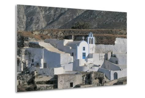 Facade of a Church, Episkopi, Santorini, Cyclades Islands, Southern Aegean, Greece--Metal Print