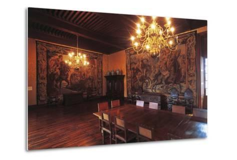 Living Room with Tapestries, Chateau of Vizille, 17th Century, Rhone-Alpes, France--Metal Print