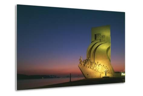 Monument to Discoveries, 1960, on Bank of Tagus River, Night View, Belem District, Portugal, Detail--Metal Print