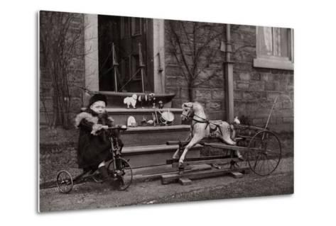 Portrait of a Child on a Tricycle, C.1882-1900--Metal Print