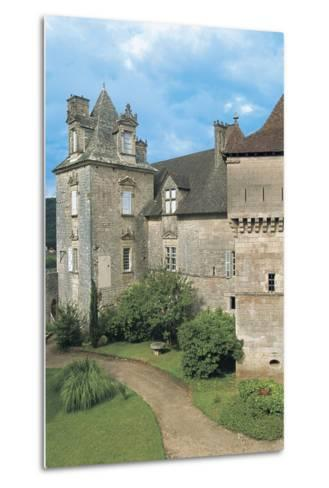 Lawn in Front of a Castle, Cenevieres Castle, Midi-Pyrenees, France--Metal Print