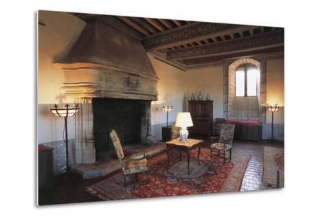 Room with Fireplace, Chateau of Septeme, Rhone-Alpes, France--Metal Print