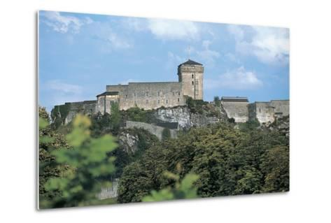 Low Angle View of a Castle, Lourdes, Midi-Pyrenees, France--Metal Print