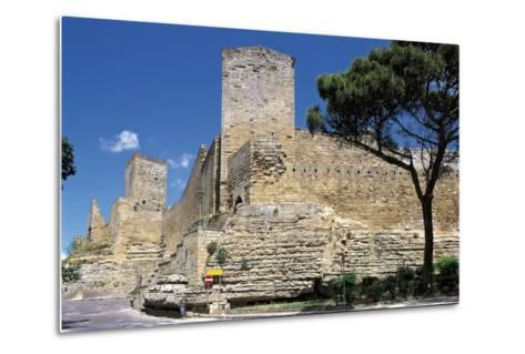 Low Angle View of a Castle, Enna, Sicily, Italy--Metal Print