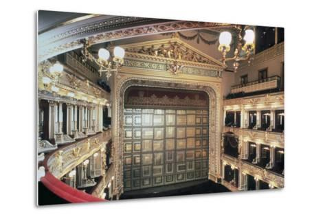 Interior of National Theatre, Prague, Czech Republic, 19th Century--Metal Print